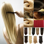 Double Wefted Full Head Clip In Hair Extensions 18Clips Hairpiece As Human Hair
