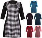 Womens Plus Size Half Sleeve Ladies Stretch Dogtooth Tunic Mini Dress Long Top