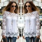New Fashion Women Sheer Long Sleeve Embroidery Lace Crochet Chiffon Shirt Blouse