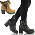 LADIES WOMENS BLOCK HIGH HEEL GRIP SOLE FUR LINED BIKER WINTER ANKLE BOOTS SHOES