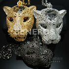 Large Glossy Panther Head Pendant Necklace Heavy CZ Animal Leopard Jewelry