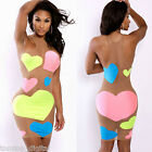 Women Mesh Dress Neon Heart Print Semi-sheer Sleeveless Party Club Bodycon Dress