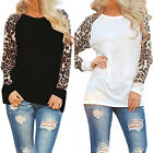 Sexy Womens Long Sleeve Loose T Shirt Summer Casual Leopard Print Tops Blouse