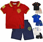 Boys Sports T Shirt Shorts Set Kids Short Sleeve Tee Outfit New Age 2 - 12 Years