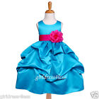NEW TURQUOISE/FUCHSIA PICK UP GOWN FLOWER GIRL DRESS 6M 9M 12M 18M 2 4 6 8 10 12