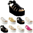 Womens Heeled Hologram Strappy Shoes Festival Gladiator Wedge Sandals UK 3-9
