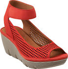 Clarks Womens CLARENE PRIMA Chunky Wedge Sandals Red Nubuck 26108738