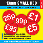 Small 13mm Bright Red Price Point Stickers / Sticky Swing Tag Labels  £1 - £11