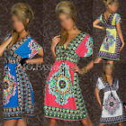 Women V-NECK Swimwear Bikini BOHO Beachwear Swimsuit Cover Up Kaftan Shirt Dress