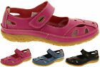 Womens Leather Sandals Ladies Comfort Mary Jane Flat Velcro Shoes Size 4 5 6 7 8