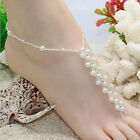 Sexy Women Handmade Chain Pearl Harness Toe Ring Barefoot Sandal Beach Anklets C