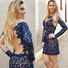 Women Fashion Sexy Pierced Perspective Soluble Stitching Lace Dress S/M/LXL TR
