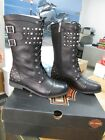 NEW Harley Davidson Womens Leather Boot Boots Shoes Medium Black Nathalie