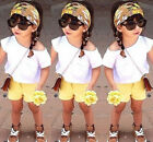 Newest Fashion Kids Baby Girl Off-shoulder Tops Pants Floral Scarf 3PCS Outfits