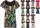 Womens Plus Size Floral Flower Print Scoop Neck Short Sleeve Top Ladies Tunic