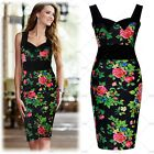 Women's Vintage Style Boho Floral Print Sexy Evening Party Proms Slim Dresses