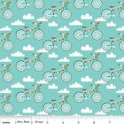 FANCY FREE BIKES - BLUE - RILEY BLAKE 100% COTTON FABRIC bike cycles
