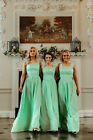 1 SHOULDER CHIFFON BRIDESMAID WEDDING DRESS LONG & SHORT PASTEL EVENING EVE