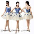 Blue Appliqued Short Prom Party Dresses Bridesmaid Evening Gown Homecoming 2015