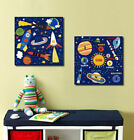 Rockets Satellite Planets Stretched Canvas Print Framed Boys Wall Art Decor AU
