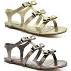 WOMENS LADIES BOW STUDDED T-BAR CUT OUT METALLIC FLAT GLADIATOR SANDALS SIZE