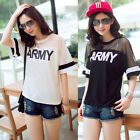 Korean Fashion Women Summer Short Sleeve Mesh Letter Printed T-shirt Casual Top