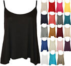 New Womens Plain Strappy Swing Cami Ladies Sleeveless Stretch Vest Top 8 - 14