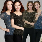 Korean Fashion Women Crewneck Gauze Gilding Slim T-shirt Casual Bronzing Top New