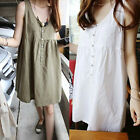 Korean Fashion Girls Fluffy Sleeveless Cotton&Linen Loose Bubble Dress Plus Size