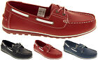 Womens LEATHER Deck Shoes Smart Casual Lace Up Loafers Boat Pumps Size 4 5 6 7 8