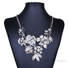 Gold Sliver Flowers Crystal Charm Womens Chunky Statement Chain Bib Necklace New