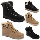Ladies Womens Army Combat Grip Sole Fur Lined Winter Ankle Boots Shoes Trainers