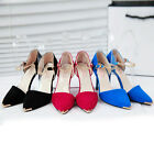 C8 US Womens Ladies High Heels Pointed Toe Buckle Summer Sandals Fashion Shoes