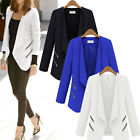 New Womens Ladies Career OL Slim Coat Suit Jacket Zip Blazer Casual Tops UK 8-16