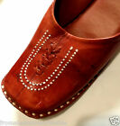 Hand Tooled Leather Brown Mules Shoes Size 5, 6, 7, 8