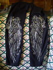 Plus or Regular Full-Length Black Leggings Embellished Rhinestone Angel Wings