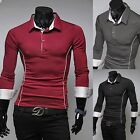 Fashion Men Embroider Turn-Down Collar Long Sleeve T-shirt Slim Fit Solid Color