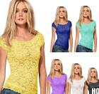 HO US New Women Floral Lace Sexy Top Short Sleeve Blouse Crew Neck T-shirt M/L