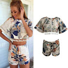 Sexy Women Floral Tassel Two-piece Backless Casual Crop Tops+Pants Shorts