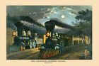 The Lightning Express Train by Currier & Ives USA Vintage Poster Repro FREE S/H