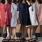 Fashion Ladies Cotton&Linen Plus Size Loose Embroidery Short Sleeve Summer Dress