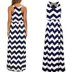 GT Charm Women's Sleeveless Striped Wavy Pattern Sexy Long Maxi Dress Gown AU16