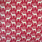 RED CREAM - MINI SCANDI REINDEER by MAKOWER 100% COTTON FABRIC CHRISTMAS