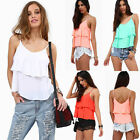 Sexy Women Summer Sleeveless Shirt Chiffon Loose Vest Tank Top V Neck Blouse New