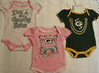 NFL Team Apparel Green Bay Packers Girls 0-3 Month Bodysuit 3-Pack NWT Cotton