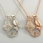 A1-P350 'Cats In Love' Necklace & Pendant Charm Fashion 18KGP Swarovski Crystal
