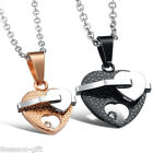 1PC Couple Necklace Heart Pendant Stainless Steel Lovers Friendship