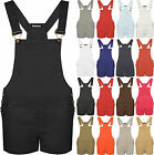 New Womens Dungaree Pocket Buckle Strap Ladies Shorts Playsuit Jumpsuit Top 8-14