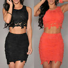 HIGA Womens Sexy Two Piece Crochet Top and Skirt Set Graceful Dress Orange Black