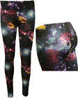 New Ladies Galaxy Stars Print Stretch Long Leggings Womens Hipster Pants 8 - 14